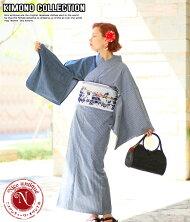 お洋服感覚で着れるカジュアル着物です♪【Nicoantiqueselect(ニコアンティークセレクト)お仕立て上がりデニム着物アシンメトリーデニム×ヒッコリーネイビー】※こちらは着物単品での販売です。ブルーデニム個性的おしゃれクール11-15-19-002