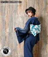 お洋服感覚で着れるカジュアル着物です♪【Nicoantiqueselect(ニコアンティークセレクト)used加工!お仕立て上がりデニム着物ブルーデニム】※こちらは着物単品での販売です。インディゴ個性的おしゃれクール06-15-19-008
