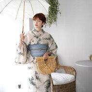 浴衣セットレディース浴衣3点セット(浴衣/帯/下駄)日本製生地国内染色和歌山染工白緑グリーン黄色NicoAntiqueニコアンティーク浴衣セットゆかた女性レトロフリーサイズ