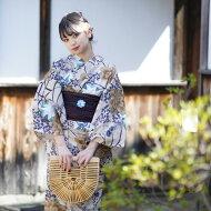 浴衣セットレディース浴衣3点セット(浴衣/帯/下駄)日本製生地国内染色和歌山染工ベージュ黄色紺白ミントからしNicoAntiqueニコアンティーク浴衣セットゆかた女性レトロフリーサイズ