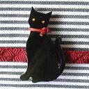 黒猫帯留・こっち向き(商品番号 WA-123)