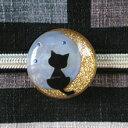 月夜猫の帯留 オパール(商品番号 WA-204)