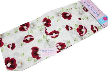 希少品/トールサイズの浴衣単品-白色に赤色花柄【身長165センチ以上から/素材:綿100%】