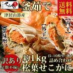 【松葉 せこがに 送料無料】釜茹で 訳あり 松葉 せこがに 約1kg(小サイズ5~10枚)せいこがに セイコガニ 松葉ガニ せこがに 松葉 せこがに せこガニ1kgせいこがに 日本海