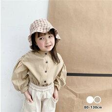 ボリュームコクーン袖トップス女の子キッズホワイト/ブラウン80-130cm