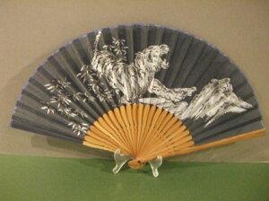 男物扇子/トラ柄(紺)・男性用・紳士用扇子/メンズ/綿製/7.5寸/和柄