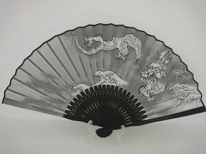 男物扇子/龍柄(グレー×黒骨)/和柄/7.5寸/男性用紳士用扇子
