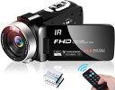 カムコーダー 「父の日」フルHD 1080P 30FPS 24.0 MP リモコン 赤外線ナイトビジ ...