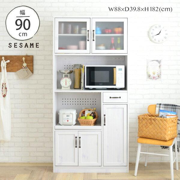 クーポン配布中♪ レンジ台 大容量 キッチンボード 食器棚 一人暮らし キッチン収納 幅88cm 88幅 レンジボード オープンボード スライド 白 ホワイト シンプル かわいい おしゃれ <LUFFY/LU180-90L>