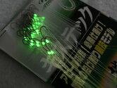 拙者競技モデル50本糸付き鈎ケイムララメ糸&夜光塗byササメキステック