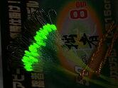 拙者競技モデル50本糸付き鈎ケイムララメ糸&夜光塗byがまかつシロギスファイン