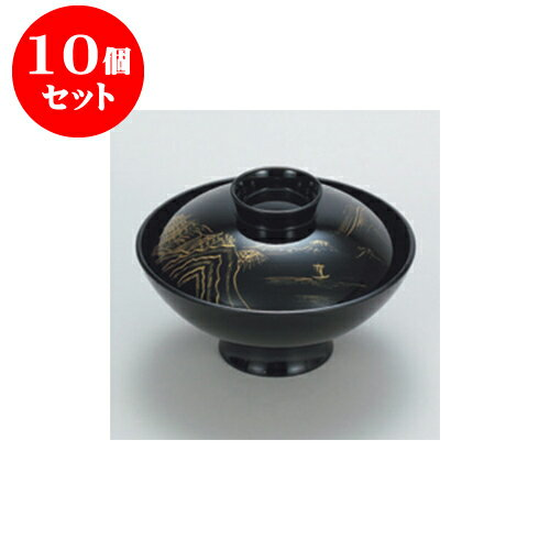 10個セット 吸物椀 黒 山水 小槌吸物椀 [13 x 8.5cm]  耐熱 樹・耐熱