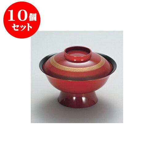 10個セット 飯器・丼 朱内黒 金筆 6寸大名丼 [17.8 x 12.2cm]A ウ