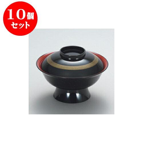 10個セット 飯器・丼 黒内朱 金筆 6寸大名丼 [17.8 x 12.2cm]A ウ