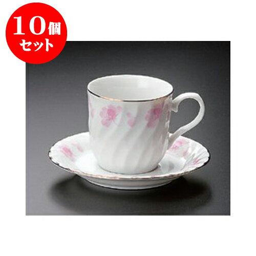 10個セット 碗皿 ピンク花つなぎコーヒー碗皿 [13.5 x 7.3 x 7cm]ケハ 【料亭 旅館 和食器 飲食店 業務用】