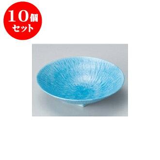 供跟從10個安排向的淡藍色和灰塵(6.0寸深)圓盤子[17 x 4.5cm]酒家旅館日式餐具飲食店業務使用