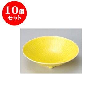 供跟從10個安排向的黄色和灰塵(6.0寸深)圓盤子[17 x 4.5cm]酒家旅館日式餐具飲食店業務使用