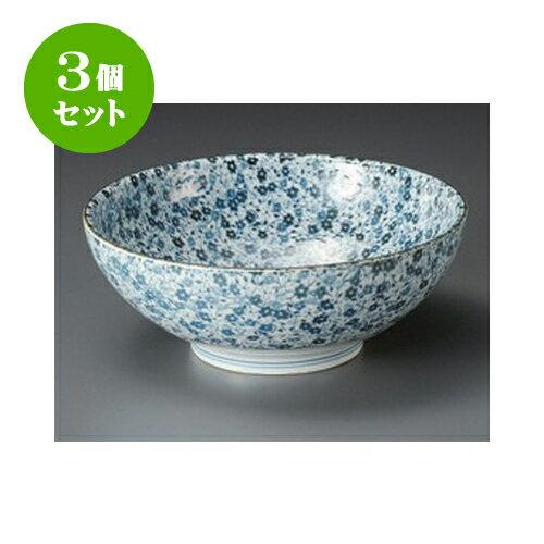 3個セット めん皿 藍染小花麺鉢 [21.5 x 8.2cm]