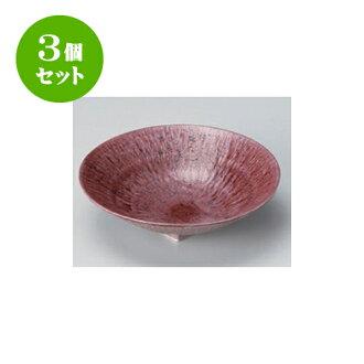 供跟從3個安排向的紫色和灰塵(6.0寸深)圓盤子[17 x 4.5cm]酒家旅館日式餐具飲食店業務使用
