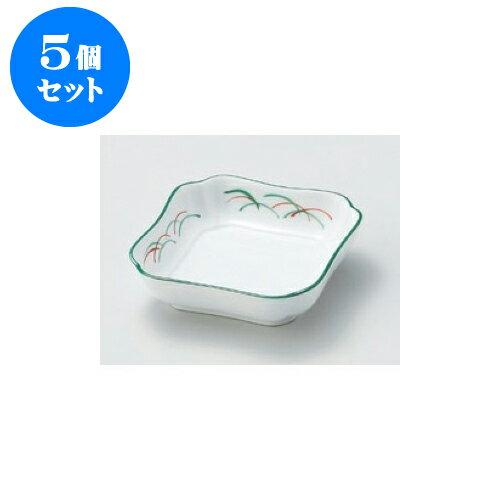 5個セット 松花堂 武蔵野花四角小鉢 [11 x 11 x 4cm]