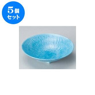 供跟從5個安排向的淡藍色和灰塵(6.0寸深)圓盤子[17 x 4.5cm]酒家旅館日式餐具飲食店業務使用