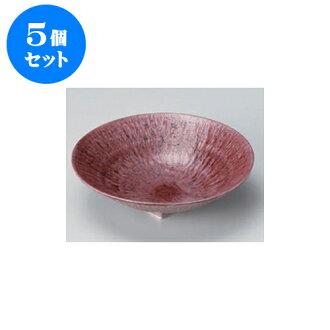 供跟從5個安排向的紫色和灰塵(6.0寸深)圓盤子[17 x 4.5cm]酒家旅館日式餐具飲食店業務使用