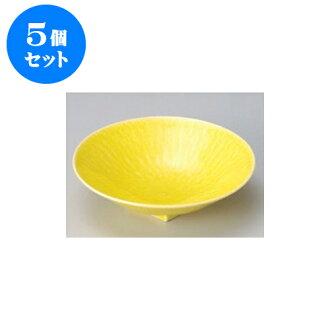 供跟從5個安排向的黄色和灰塵(6.0寸深)圓盤子[17 x 4.5cm]酒家旅館日式餐具飲食店業務使用