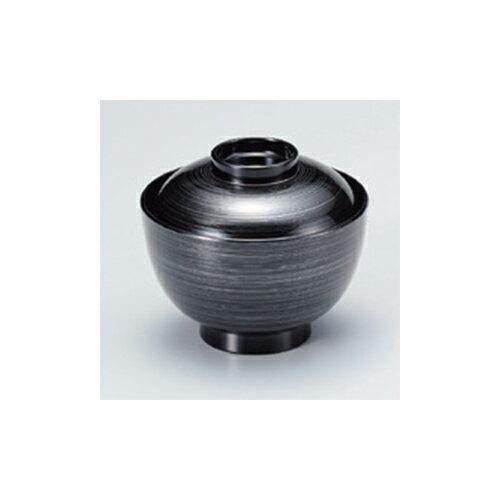 煮物椀 [TA]3.8寸仙才椀 黒 銀刷毛目 [11.1 x 9.7cm]