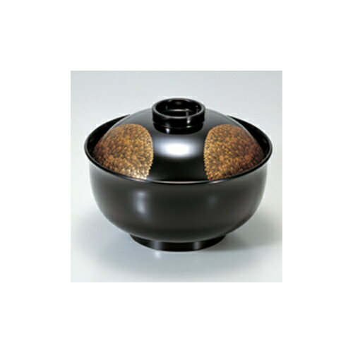 煮物椀 [TA]4.5寸リリー椀 黒輪菊 [13.5 x 9.4cm]