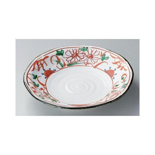 5個セット 丸大皿 赤絵花8.0皿 [25 x 4.7cm] 強化 | 中皿 デザート皿 取り皿 人気 おすすめ 食器 業務用 飲食店 カフェ うつわ 器 おしゃれ かわいい ギフト プレゼント 引き出物 誕生日 贈り物 贈答品