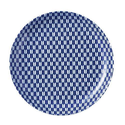 5個セット☆ 中皿 ☆ 矢絣 青 23cm丸皿 [ D-23.4 H-3cm ] 【 料亭 旅館 和食器 飲食店 業務用 自宅用 和柄 伝統文様 縁起物 青 ブルー 】