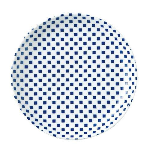 5個セット☆ 中皿 ☆ 市松 青 23cm丸皿 [ D-23.4 H-3cm ] 【 料亭 旅館 和食器 飲食店 業務用 自宅用 和柄 伝統文様 縁起物 青 ブルー 】
