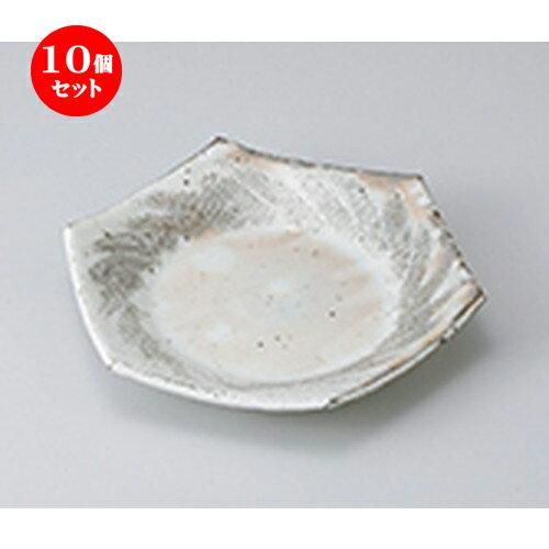 10個セット ☆ 前菜皿 ☆粉引クシ目六角皿 [ 19.5 x 17.5 x 3.4cm ]