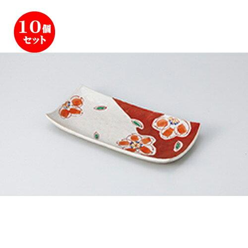 10個セット ☆ 焼物皿 ☆錦花紋焼物皿 [ 25.8 x 12.8 x 3.5cm ]