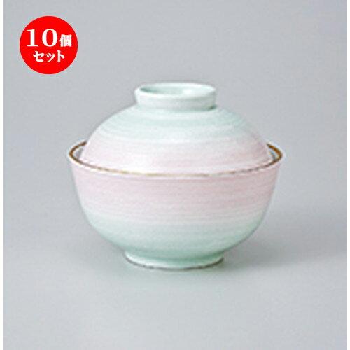 10個セット ☆ 蓋物 ☆ 白刷毛目二色吹煮物碗 [ 11.2 x 9cm ]