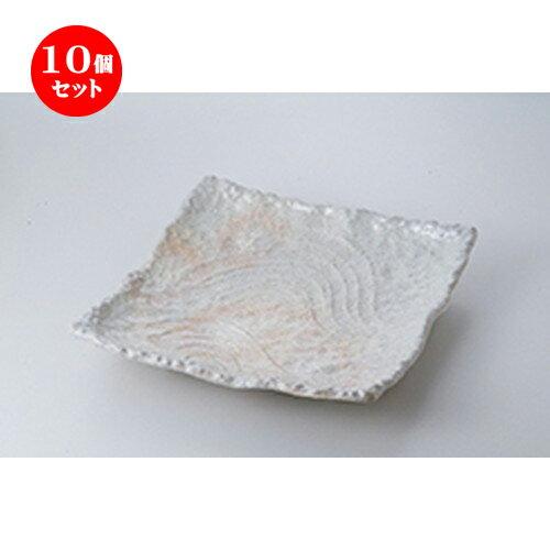 10個セット ☆ 萬古焼盛込皿 ☆ 粉引10.0正角皿  [ 30 x 30 x 5.5cm ]