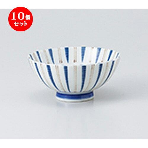 10個セット☆ 飯椀 ☆ 内外千段十草青中平 [ 11.6 x 5.5cm ]