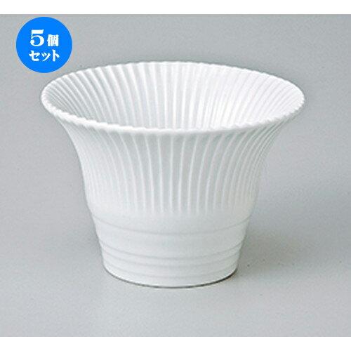 5個セット☆ 小鉢 ☆ 白釉菊形仲付 [ 10 x 7cm ]