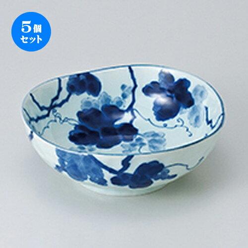 5個セット ☆ 多用鉢 ☆ 藍染ぶどう 三角6.8鉢  [ 20.5 x 7.4cm ]