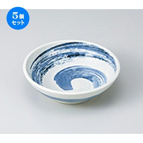 5個セット ☆ 多用鉢 ☆ 粉引青流 手捻り5.0鉢  [ 16.8 x 5cm ]