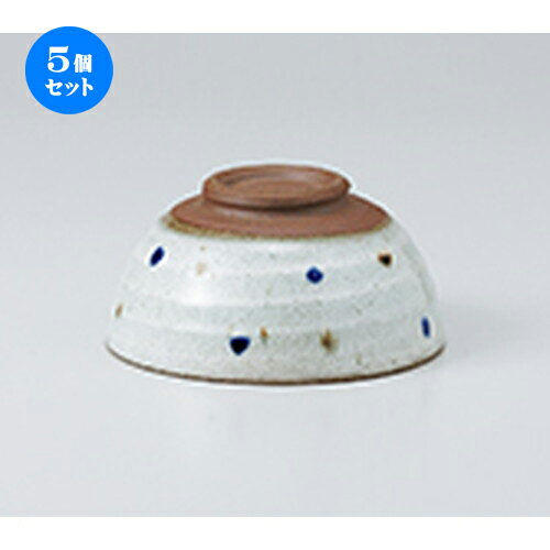 5個セット☆ 飯椀 ☆ 荒粉引水玉茶碗 [ 11.2 x 5.5cm ]