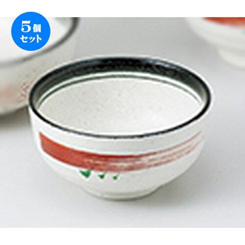 5個セット☆ 丼 ☆ 黒赤絵刷毛多用碗 [ 14 x 7.4cm ]