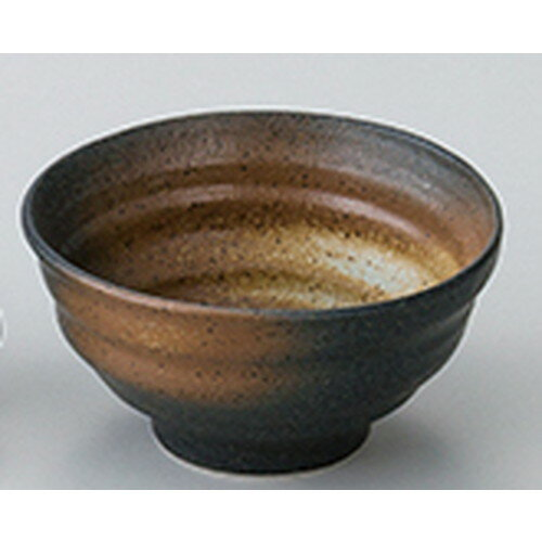5個セット☆ 和陶オープン ☆ 黒備前吹き ろくろ目丼 [ 17.7 x 9.2cm ]