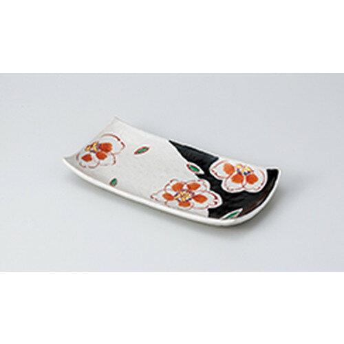 10個セット ☆ 焼物皿 ☆錦花紋黒焼物皿 [ 25.8 x 12.8 x 3.5cm ]