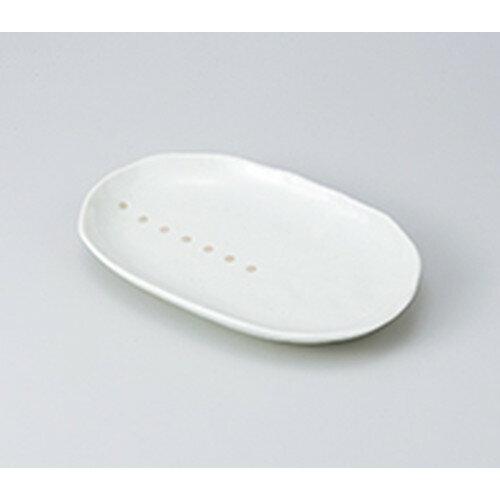 10個セット ☆ 焼物皿 ☆白マットドットスパ皿 [ 24.5 x 15.5 x 3.5cm ]