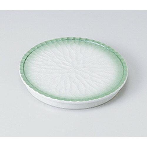 10個セット ☆ 前菜皿 ☆ヒワ吹ラスター菊彫高台丸皿 [ 17.4 x 2cm ]