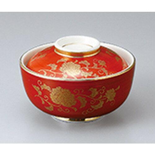 10個セット ☆ 蓋物 ☆ 赤巻唐草円菓子碗 [ 11.5 x 7.8cm ]