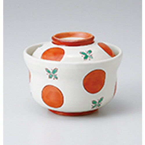 10個セット ☆ 蓋物 ☆ 赤絵丸紋円菓子碗 [ 11.6 x 9cm ]