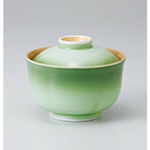 10個セット ☆ 蓋物 ☆ 緑彩円菓子碗 [ 12.2 x 9.4cm ]