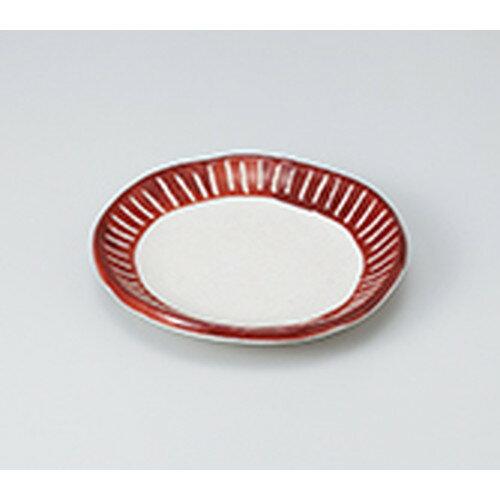 10個セット ☆ 和皿 ☆ 渕彫十草 5.0取り皿 赤色 [ 15.5 x 2.7cm ]